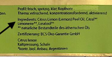 Inhaltsstoffe INCI ätherische Öle