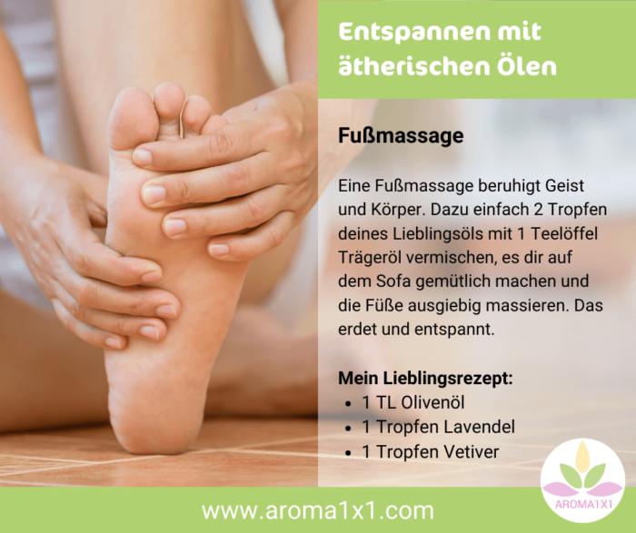 Fußmassage mit ätherischen Ölen zum Entspannen