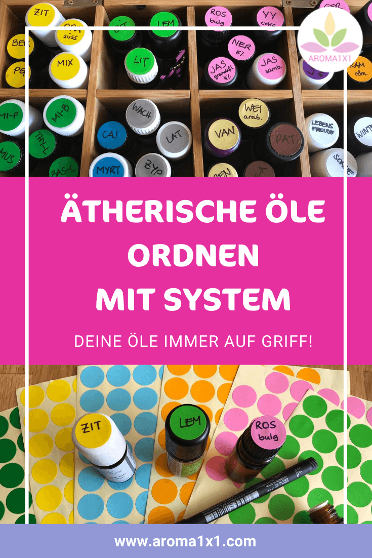 ätherische Öle ordnen mit Etiketten